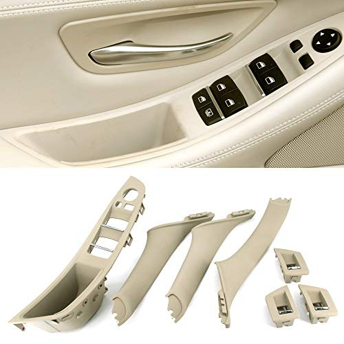 FEXON Driver Side Door Handle for BMW 5 Series,Window Switch Armrest Panel,Inner Pull Handle Trim Panel Cover Kits for 2010-2016 BMW 5 Series 520 523 525 528 530 535 F10 F11 Cream Beige