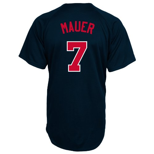 MLB Minnesota Twins Joe Mauer Full Button Down Synthetic Replica Batting Practice Jersey,Large