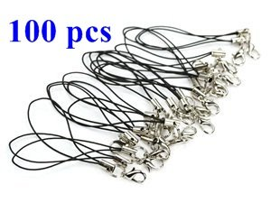 COSMOS ® 100 PCS 3 inches Black Color Cellphone Strap with Silver Color Tone Split Ring and Lobster Clasp