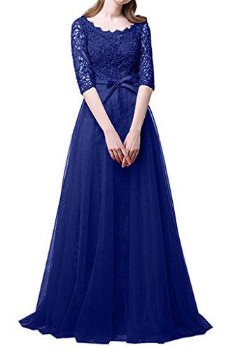 Spitze mia Langarm Abschlussballkleider Blau Royal A Prinzess Brau La Linie Brautmutterkleider Abendkleider Promkleider twq4nd