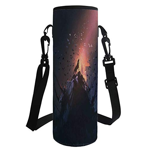 iPrint Water Bottle Sleeve Neoprene Bottle Cover,Fantasy World,Howling Wolf on Rock Surrounded by Bats Birds Scary Dog Wild Life Animals Art,Multicolor,Fit for Most of Water Bottles by iPrint