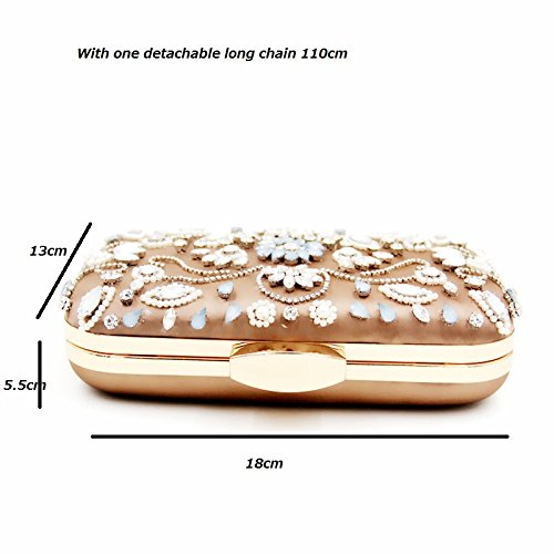 Women Beaded Pearls Chain Clutch Purple Rinestones Purse Crystals Vintage With Flower Evening Elegant Handbag Evening Velvet Eb111 Detachable pqnwdBff