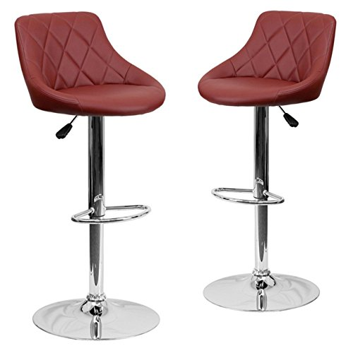 Belleze 2-PC Bucket Style Seat Adjustable Bar Stool w/Footrest Chrome Base, Dark Red
