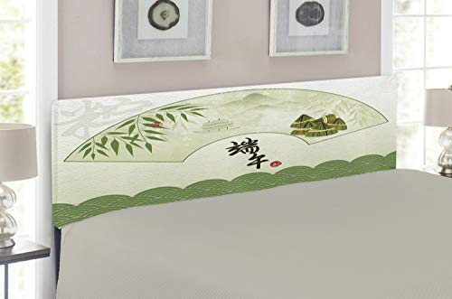 Lunarable Green Oriental Headboard for Full Size Bed, Chinese Dragon Boat Festival with Abstract Rice Dumpling Bamboo Background, Upholstered Decorative Metal Headboard with Memory Foam, Multicolor