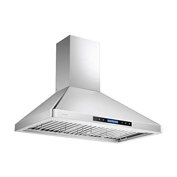 """CAVALIERE 36"""" Inch Wall Mounted Stainless Steel Kitchen Range Hood 900 CFM 3 900 CFM: More powerful then most competitors, this exhaust system is made for heavy duty cooking that removes grease, odors and potentially toxic pollutants from the air in your kitchen Designed with a Whisper quiet single chamber centrifugal blower. The noise level is at 25 decibels on the lowest setting and 56 decibels on the highest speed setting. Built to Last: Commercial grade heavy duty 19 gauge stainless steel construction is non-magnetic and rust proof with a brushed finish. 6"""" inch round ducting comes from the top of the range hood and a adjustable chimney accommodates a 8' ft to 9' ft ceiling. If your ceiling height is above 9' ft, then a higher chimney extension is required. ( Sold Separately)"""