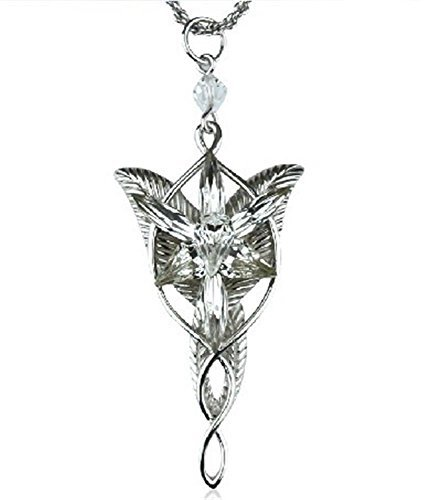 Atoy Arwen Evenstar Pendant Silver Plated Lord of the Rings Elven Princess Arwen Silver Pendant Necklace
