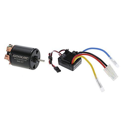 GoolRC 540 35T 4 Poles Brushed Motor and WP-1060-RTR 60A Waterproof Brushed ESC Electronic Speed Controller with 5V/2A BEC for 1/10 RC Car (Novak Crawler)