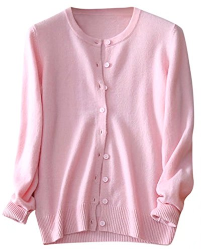 Women's Cashmere Classic Cardigan Sweater Crewneck Long Sleeve Button Down Knitwear, Pink, Tag 2XL = US L(12)