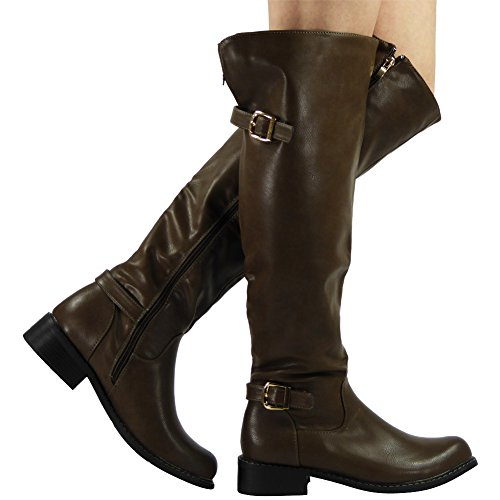 NEW WOMENS LADIES BUCKLE LOW HEEL KNEE HIGH RIDING FAUX LEATHER BOOTS SHOES SIZE 3-8 Khaki P5D3LjaDZ