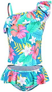 Moon Tree Girls Two Piece Bathing Suit Ruffle Tankini Swimsuits Hawaiian Floral Swimwear Set
