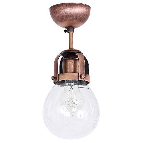 Formschöne Deckenleuchte in Kupfer gebürstet Vintage Design Industrie Design 1x E27 bis zu 60 Watt 230V aus Glas & Metall Flur Küche Esszimmer Lampe Leuchten Beleuchtung