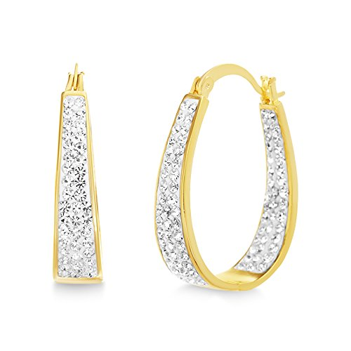 Devin Rose Oval Inside Outside Hoop Earrings for Women Made With Swarovski Crystal in Yellow Gold Plated Brass (Yellow)
