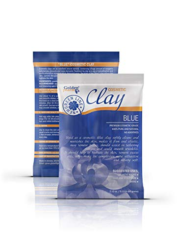 Kaolin White Clay for Face Mask and Body – Cosmetic Powder with Natural Additives (6 pack, blue (with blue kelp))