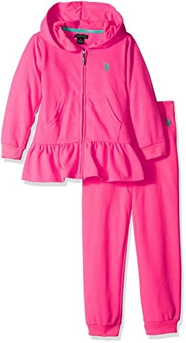 U.S. Polo Assn. Girls' 2 Piece Neon French Terry Hoody and Jogger Pant Set