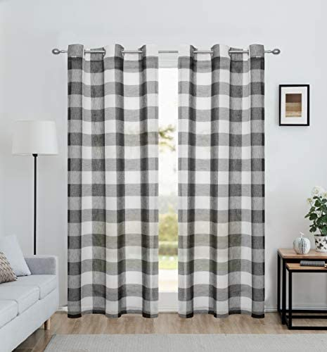 Ronaldecor Black Gingham Plaid Buffalo Checkered Sheer Window Curtain Panels