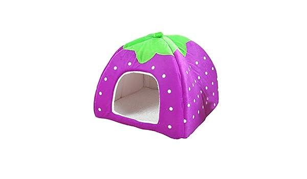 ueetek Igloo para gato cama cesta para perro gato cojín algodón peluche suave púrpura Fresa: Amazon.es: Productos para mascotas
