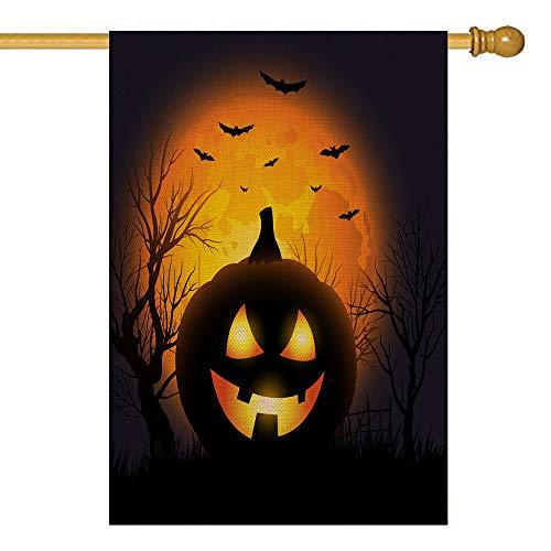 Really Scary Halloween Backgrounds (GROOTEY Happy Halloween Fall Garden Flag, Scary Pumpkin Light Ghost Bat Bats Dark Moonlight Harvest Fall Decoration Home Decor Indoor Outdoor Duplex Burlap House Logo 28X40)