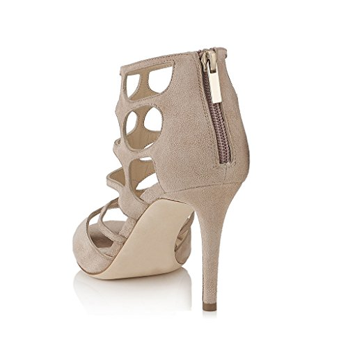 Sandals Strappy Size Heels High US Women Beige Fashion Wedding Dress Toe for 4 Shoes Open FSJ 15 I4Hq0w