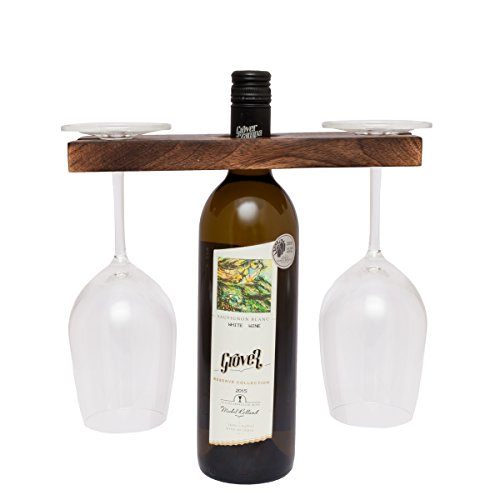 (GoCraft Wine Bottle & Glass Holder | Handmade Antique Wood Stand for Wine for Two Glasses & Bottle )