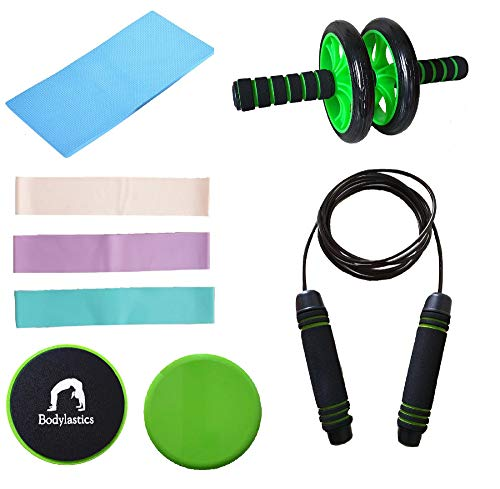 Bodylastics Resistance Bands, Ab Roller with Knee Mat, Core Sliders & Jump Rope for Squats, Stretching, Strength Training, ABS Workouts Price & Reviews