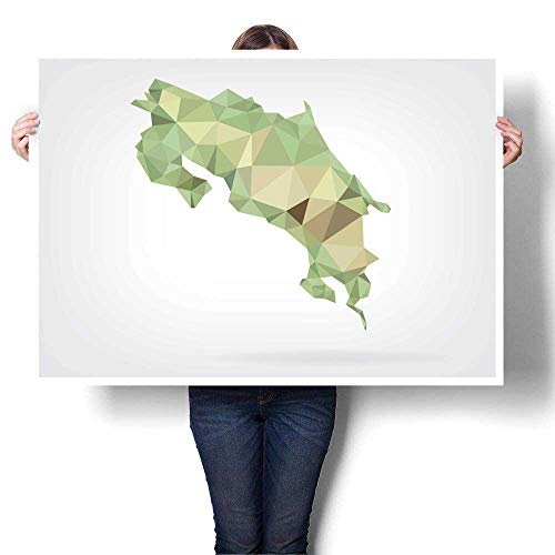 (WinfreyDecor Canvas Painting Sticker Low Poly map of Costa Rica Canvas Art Posters Prints Wall Art 20