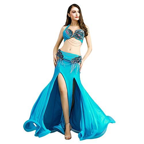 ROYAL SMEELA Belly Dance Costume for Women Belly Dancing Skirts Belly Dance Bra and Belt Maxi Ruffle Fishtail Skirt Dresses Light Blue