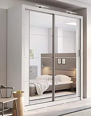 Arthauss Modern Bedroom Mirror Sliding Door Wardrobe Arti 3 In Matt White 181cm Without Led Sold Amazon Co Uk Kitchen Home