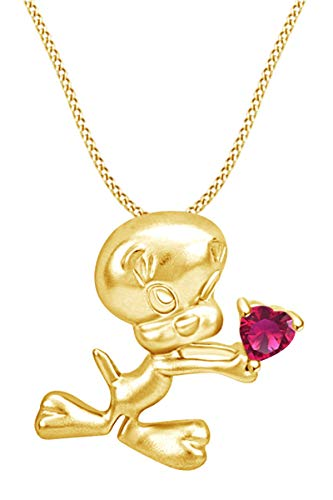 AFFY Heart Shape Simulated Ruby Tweety Bird with Heart Pendant Necklace in 14k Yellow Gold Over Sterling Silver