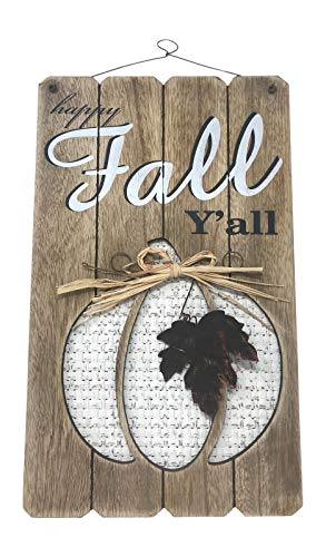 White Pumpkin Wooden Sign Fall Decor Happy Fall Y'all Plaque