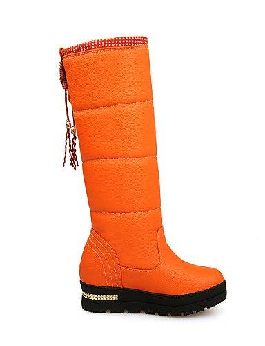 Botas Beige 5 Zapatos Nieve Vestido 5 us8 5 negro Xzz Casual Cn40 De 5 Cn35 Semicuero Eu39 Orange Redonda Mujer Punta Uk6 Rojo Creepers Uk3 Plataforma us5 Eu36 Black dXS6qwR