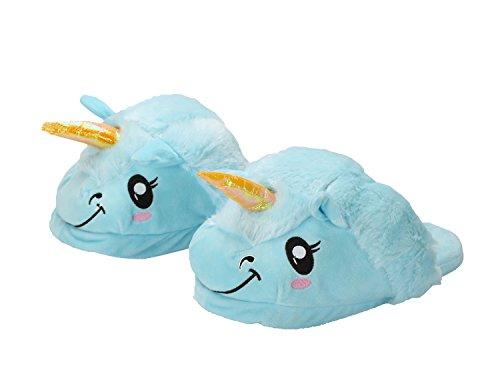 Unicorno Blu Cosplay bianca Blu felpa pantofole morbido Costume adulti Halloween i regali Unicorno per migliore scarpe xwqXFWpZ