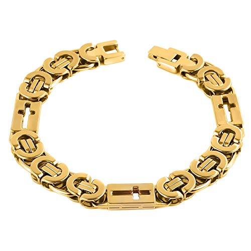 HZMAN Mens Stainless Steel Cross Link Bracelet Silver Gold Tone Byzantine 11mm Chain Jewelry 9 Inches