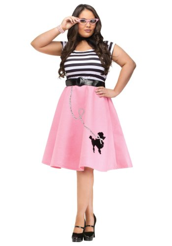 [Fun World womens Plus Size Poodle Skirt Dress 2X] (1950s Costumes Plus Size)