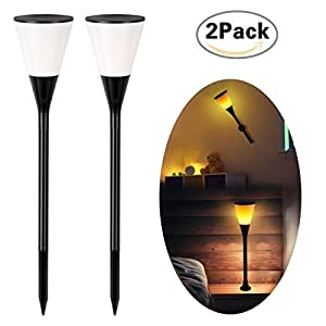 Zeonetak Solar Lights Wineglass Flickering Flame Solar Powered Torch Light Adjustable Garden Spotlight Wall Light Table Lantern Three-use Way (2)