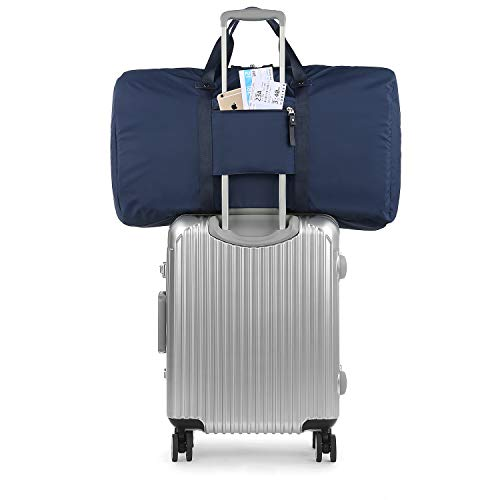 GAGAKU 80L Travel Duffel Bag Lightweight Carry-on Foldable Bags Extra Large Duffel Bag for Flight Cabin - Blue