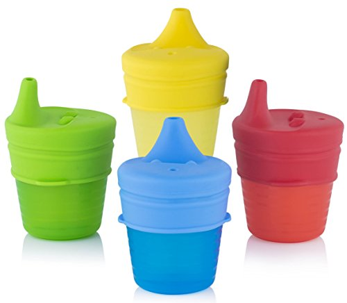 Take Along Tumbler (Silicone Sippy Cup Lids (4 Pack) | Baby Cup Lids, Make Any Cup A Spill Proof Sippy Cup, 100% BPA Free | Suitable For Toddlers and Babies (Red, Blue, Yellow, Green))