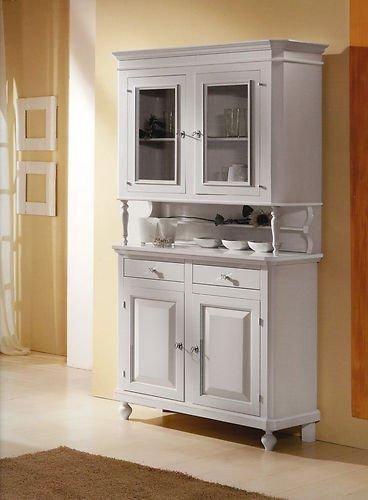 Küchenschrank in neapolitanischem Stil mit erhöhtem Vitrinenschrank, weiß lackiert, venezianisches Produkt