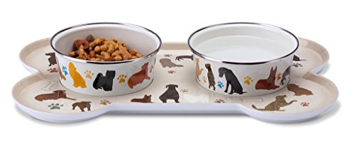 Enamel Magnetic (Sit-n-Stay Small Magnetic Non-Slip Pet Tray & Food Bowl Set (Classic Dog Breeds))