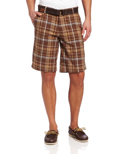 Dyed Shorts (U.S. Polo Assn. Men's Yarn Dyed Flat Front Short, Warm brown, 36)