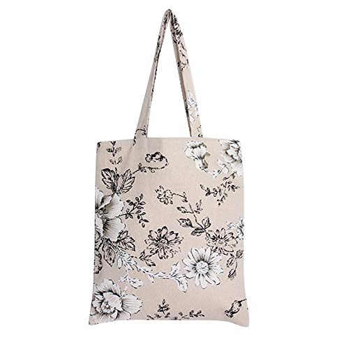 Caixia Women's Cotton Daisy Floral Canvas Tote Shopping Bag Light Brown (Black-Zip) -