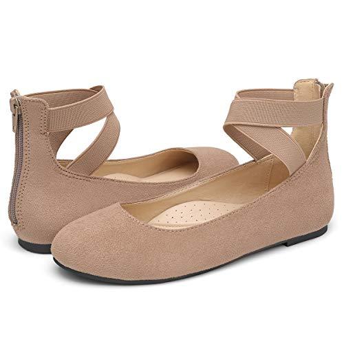 VILIYA Women's Ballet Flats - Elastic Crossing Straps Round Toe Slip-on Shoes Beige 11 ()