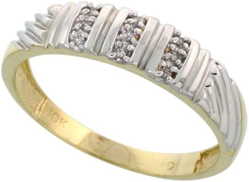 w// 0.05 Carat Brilliant Cut Diamonds Size 12 wide 3//16 in. 14k Gold Mens Diamond Band 5mm