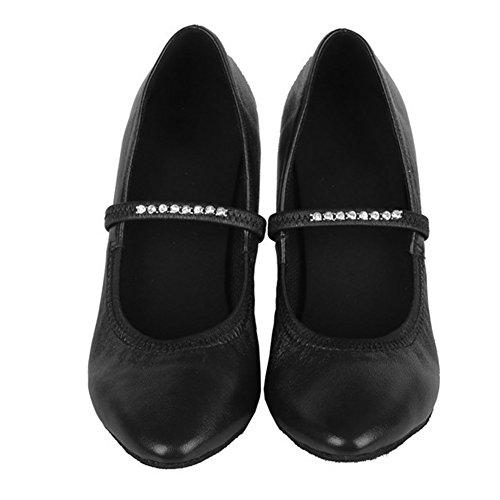 imitación el salón Zapatos Zapatos de Baile de Mujeres de Cuero HIPPOSEUS de ESAF305 Modelo Latinos de Zapatos Danza Negro de la Baile con Diamante qwqUZ68X