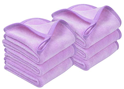 Sunland Microfiber Makeup Remover Cloths Reusable Facial Cleaning Towel Ultra Soft Washcloths 8inchx16inch Light Purple 6 Pack (Towels Purple Light)