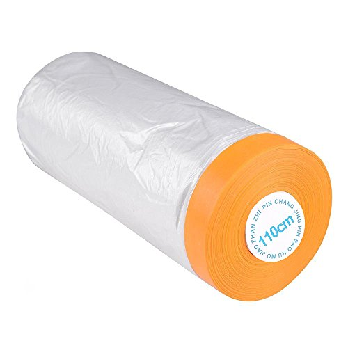 Car Furniture Pre-Taped Drop Film Masking Tape Protection Covering Cloth 25MLong ()