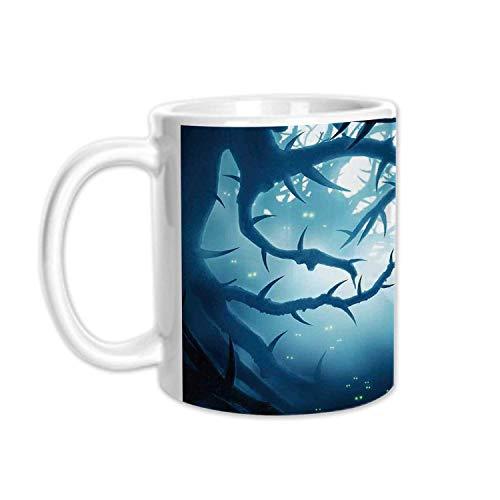 Mystic House Decor Stylish White Printed Mug,Animal with Burning Eyes in Dark Forest at Night Horror Halloween Illustration for Living Room Bedroom,3.1