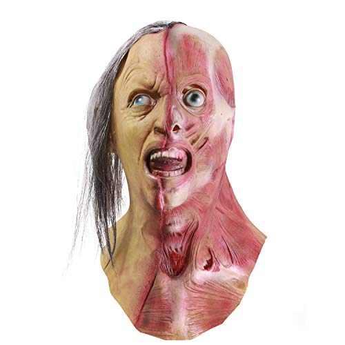 molezu Horror Half Face Man Mask, Halloween Novelty Scary Men Left Half of Face Mask, Costume Party Latex Zombie Mask Yellow -