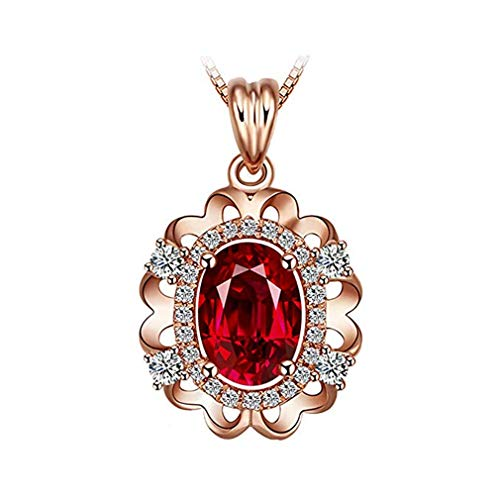 Windoson Hot Fashion Natural Garnet Pendant Necklace Silver Plated Inlaid Ruby Clavicle Chain Pendant (Red)