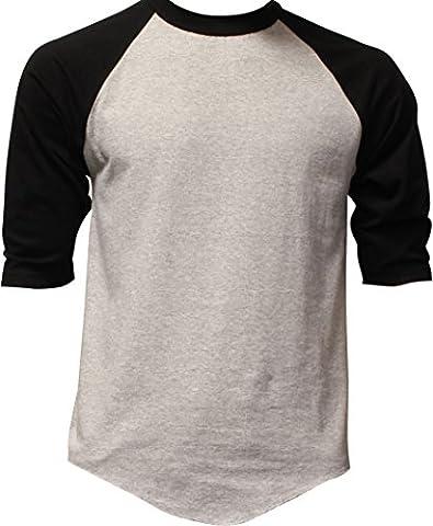 Casual Raglan Tee 3/4 Sleeve TShirt Baseball Jersey M Heather Gray Black - Short Raglan Sleeve