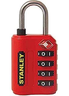 Stanley 81151393401 Candado de combinación de 4 dígitos con indicador de Seguridad, Rojo, 30